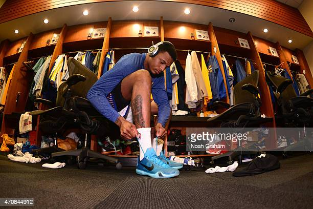 Brandon Rush of the Golden State Warriors gets ready before Game Two of the Western Conference Quarterfinals against the New Orleans Pelicans during...