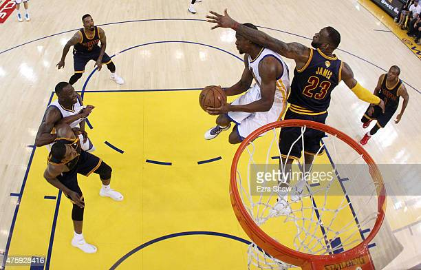 Brandon Rush of the Golden State Warriors goes up against LeBron James of the Cleveland Cavaliers in the second half during Game One of the 2015 NBA...