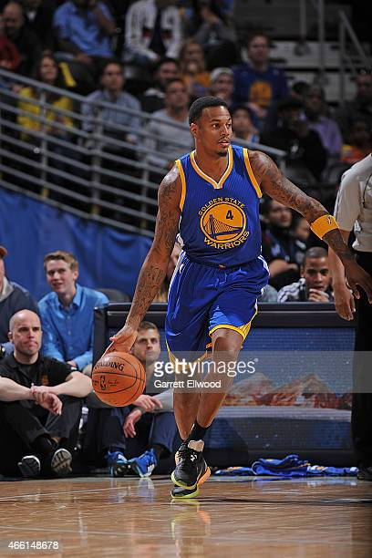 Brandon Rush of the Golden State Warriors handles the ball against the Denver Nuggets on March 13 2015 at the Pepsi Center in Denver Colorado NOTE TO...