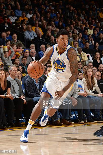 Brandon Rush of the Golden State Warriors handles the ball against the Memphis Grizzlies during the game on November 2 2015 at ORACLE Arena in...