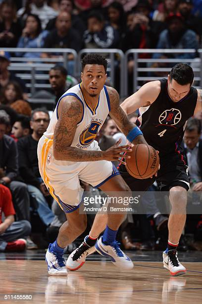 Brandon Rush of the Golden State Warriors handles the ball against the Los Angeles Clippers on February 20 2016 at STAPLES Center in Los Angeles...