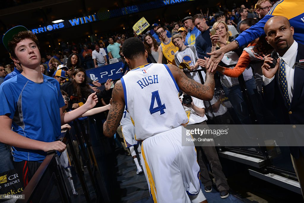 Brandon Rush #4 of the Golden State Warriors leaves the court after a game against the Denver Nuggets on January 19, 2015 at Oracle Arena in Oakland, California.