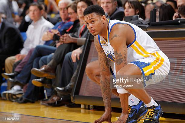 Brandon Rush of the Golden State Warriors prepares to check into the game against the Minnesota Timberwolves on March 19 2012 at Oracle Arena in...