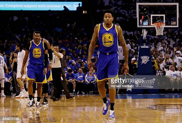 Brandon Rush of the Golden State Warriors reacts in the fourth quarter against the Oklahoma City Thunder in game three of the Western Conference...