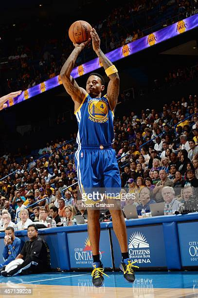 Brandon Rush of the Golden State Warriors shoots a jumper during the game against the Los Angeles Lakers on October 12 2014 at Citizens Business Bank...
