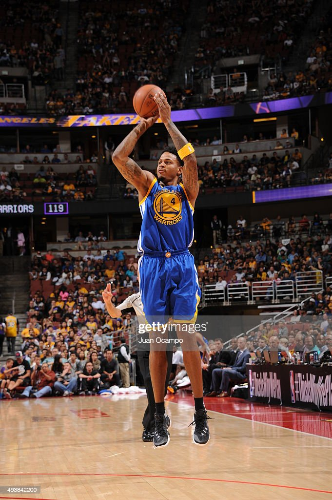 Brandon Rush #4 of the Golden State Warriors shoots against the Los Angeles Lakers during a preseason game on October 22, 2015 at Honda Center in Anaheim, California.