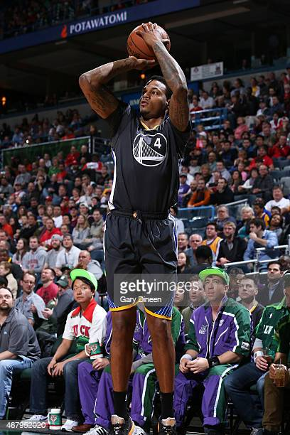 Brandon Rush of the Golden State Warriors takes a shot against the Milwaukee Bucks on March 28 2015 at BMO Harris Bradley Center in Milwaukee...