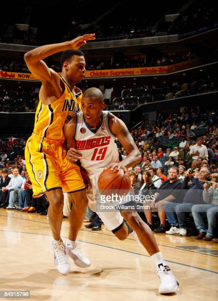 Brandon Rush of the Indiana Pacers guards against Raja Bell of the Charlotte Bobcats on February 18 2009 at the Time Warner Cable Arena in Charlotte...