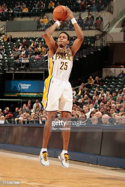 Brandon Rush of the Indiana Pacers shoots against the Detroit Pistons on March 30 2011 at Conseco Fieldhouse in Indianapolis Indiana NOTE TO USER...