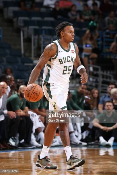 Brandon Rush of the Milwaukee Bucks handles the ball during a preseason game against the Indiana Pacers on October 4 2017 at the BMO Harris Bradley...