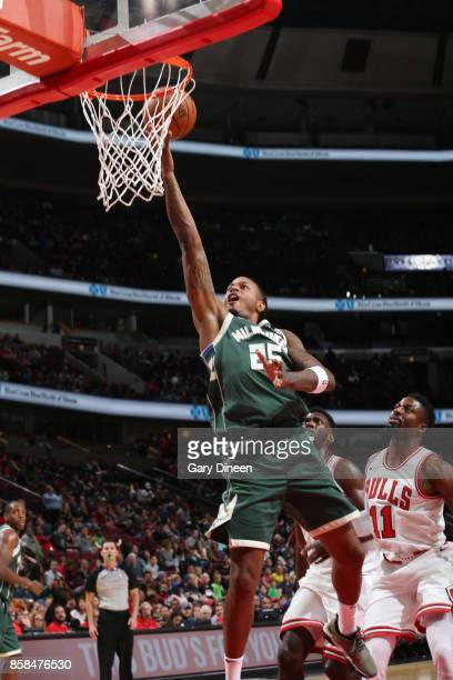 Brandon Rush of the Milwaukee Bucks shoots the ball against the Chicago Bulls during the preseason game on October 6 2017 at the United Center in...