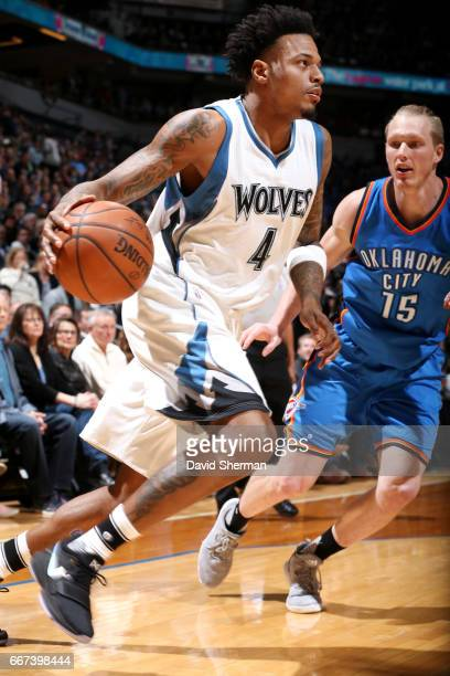 Brandon Rush of the Minnesota Timberwolves drives to the basket during the game against the Oklahoma City Thunder on April 11 2017 at Target Center...
