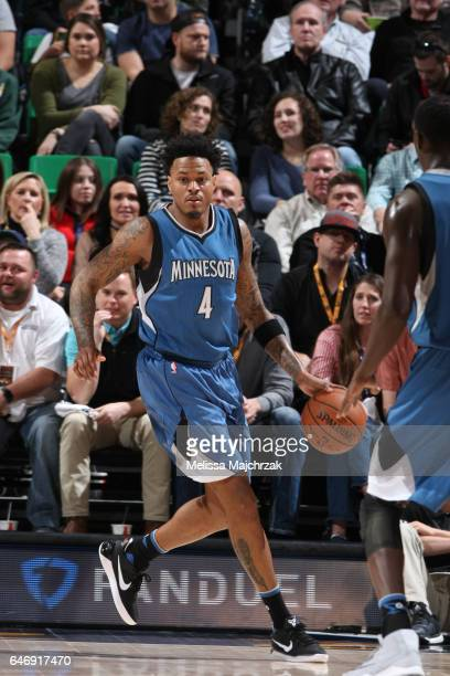 Brandon Rush of the Minnesota Timberwolves handles the ball against the Utah Jazz on March 1 2017 at vivintSmartHome Arena in Salt Lake City Utah...