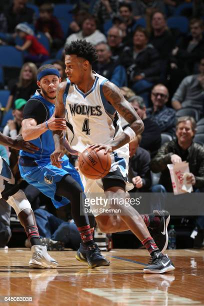 Brandon Rush of the Minnesota Timberwolves handles the ball during a game against the Dallas Mavericks on February 24 2017 at the Target Center in...