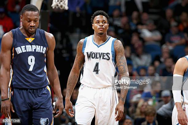 Brandon Rush of the Minnesota Timberwolves looks on against the Memphis Grizzlies on November 1 2016 at Target Center in Minneapolis Minnesota NOTE...