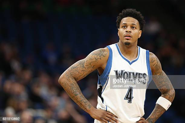 Brandon Rush of the Minnesota Timberwolves looks on during the game against the Houston Rockets on January 11 2017 at Target Center in Minneapolis...