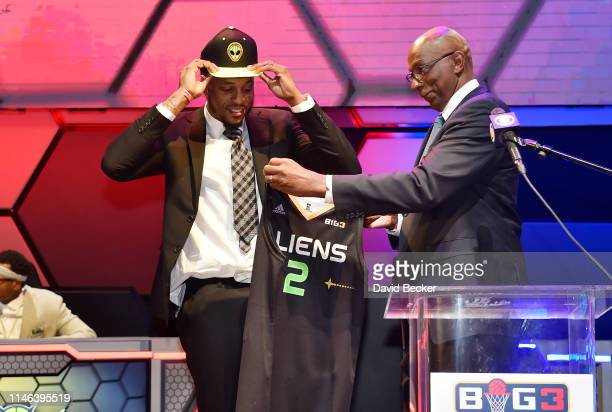 Brandon Rush poses with BIG3 Commissioner Clyde Drexler after being drafted at by the Aliens in the second round during the BIG3 Draft at the Luxor...