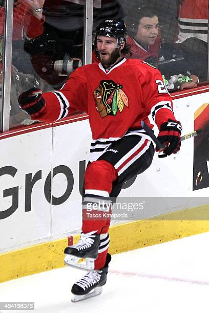 Brandon Saad of the Chicago Blackhawks celebrates after scoring a goal against Jonathan Quick of the Los Angeles Kings in the first period during...