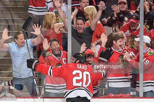 Brandon Saad of the Chicago Blackhawks celebrates after scoring against the Anaheim Ducks in the first period in Game Four of the Western Conference...