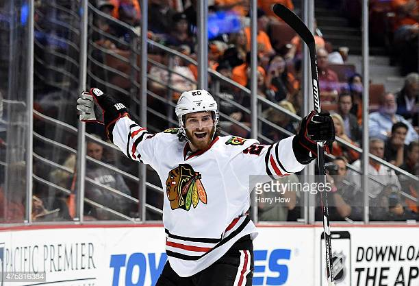 Brandon Saad of the Chicago Blackhawks celebrates his second period goal against the Anaheim Ducks in Game Seven of the Western Conference Finals...