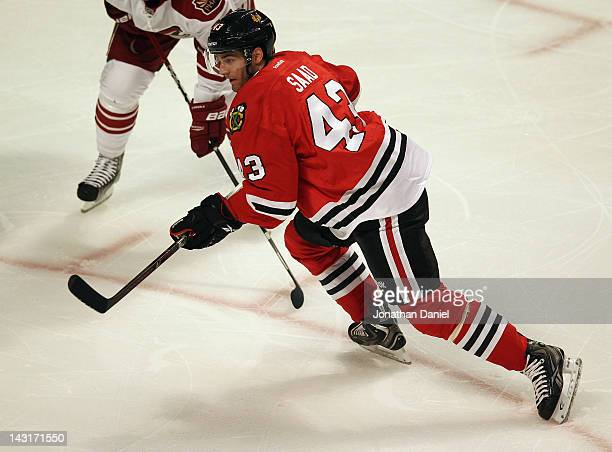 Brandon Saad of the Chicago Blackhawks moves to the puck against the Phoenix Coyotes in Game Four of the Western Conference Quarterfinals during the...