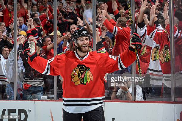 Brandon Saad of the Chicago Blackhawks reacts after scoring against the Los Angeles Kings in the first period in Game Seven of the Western Conference...