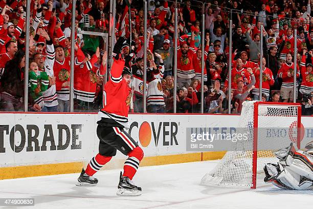 Brandon Saad of the Chicago Blackhawks reacts after scoring in the second period against the Anaheim Ducks in Game Six of the Western Conference...