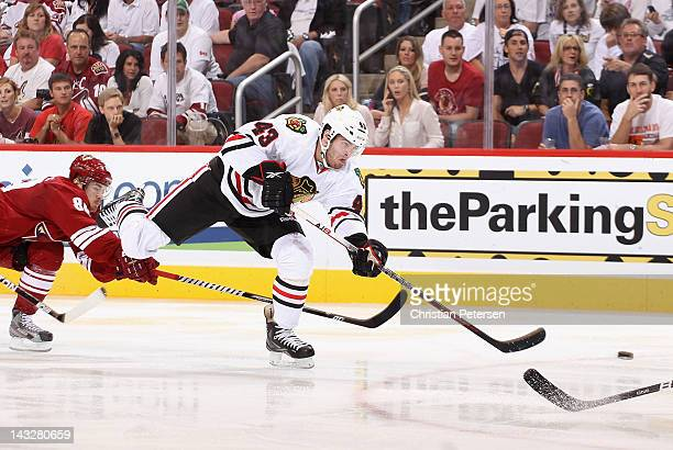 Brandon Saad of the Chicago Blackhawks shoots the puck against the Phoenix Coyotes in Game Five of the Western Conference Quarterfinals during the...