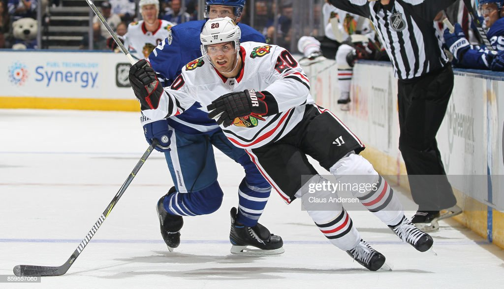 Brandon Saad #20 of the Chicago Blackhawks skates against the Toronto Maple Leafs in an NHL game at the Air Canada Centre on October 9, 2017 in Toronto, Ontario. The Maple Leafs defeated the Blackhawks 4-3 in overtime