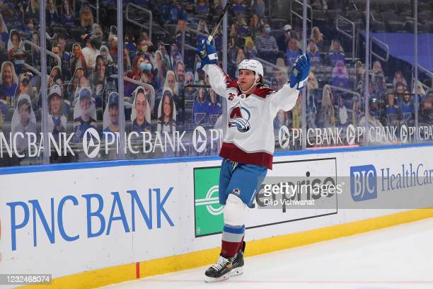 Brandon Saad of the Colorado Avalanche celebrates after scoring a goal against the St. Louis Blues in the first period at Enterprise Center on April...