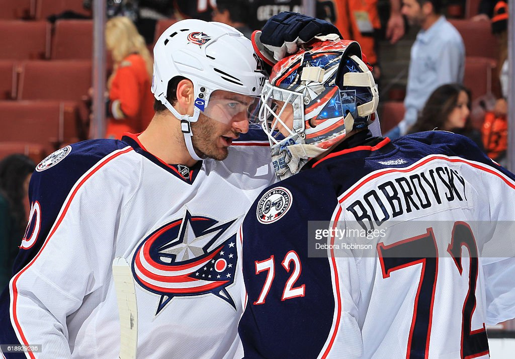Brandon Saad #20 of the Columbus Blue Jackets congratulates Sergei Bobrovsky #72 after a shutout against the Anaheim Ducks on October 28, 2016 at Honda Center in Anaheim, California.