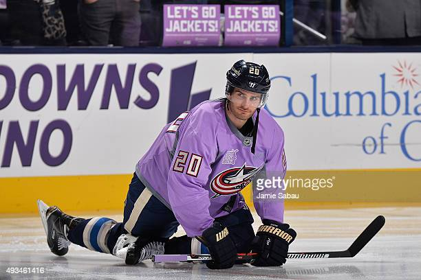 Brandon Saad of the Columbus Blue Jackets sports a purple jersey for Hockey Fights Cancer night prior to a game against the New York Islanders in NHL...