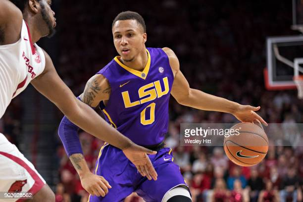 Brandon Sampson of the LSU Tigers look to drive during a game against the Arkansas Razorbacks at Bud Walton Arena on January 10 2018 in Fayetteville...