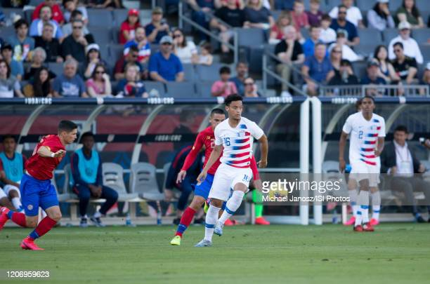 Brandon Servania of the United States moves along the sideline during a game between Costa Rica and USMNT at Dignity Health Sports Park on February 1...