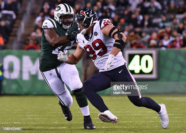 Brandon Shell of the New York Jets attempts to block JJ Watt of the Houston Texans during the game at MetLife Stadium on December 15 2018 in East...