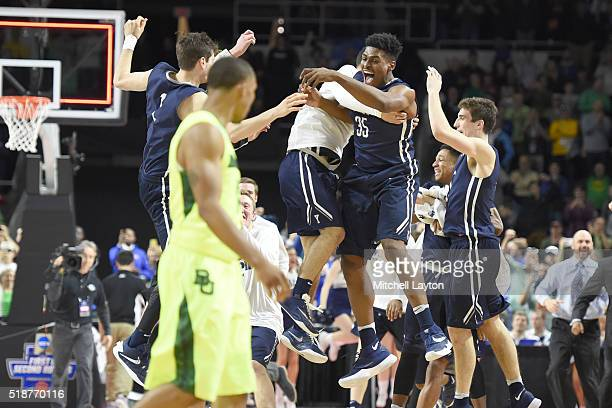 Brandon Sherrod of the Yale Bulldogs celebrates a win after a first round NCAA College Basketball Tournament game against the Yale Bulldogs at...