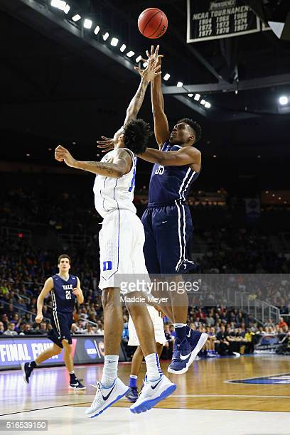 Brandon Sherrod of the Yale Bulldogs shoots the ball against Brandon Ingram of the Duke Blue Devils in the second half of their game during the...