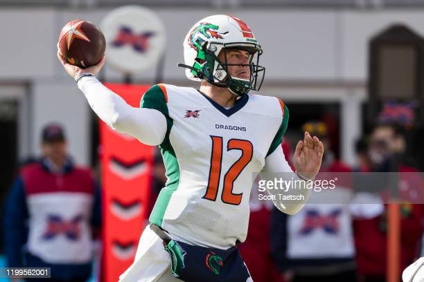 Brandon Silvers of the Seattle Dragons attempts a pass against the DC Defenders during the first half of the XFL game at Audi Field on February 8...