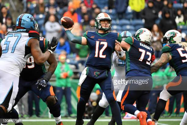 Brandon Silvers of the Seattle Dragons passes the ball during the XFL game against the Dallas Renegades at CenturyLink Field on February 22, 2020 in...