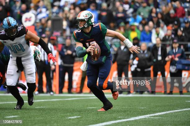 Brandon Silvers of the Seattle Dragons scrambles during the XFL game against the Dallas Renegades at CenturyLink Field on February 22, 2020 in...