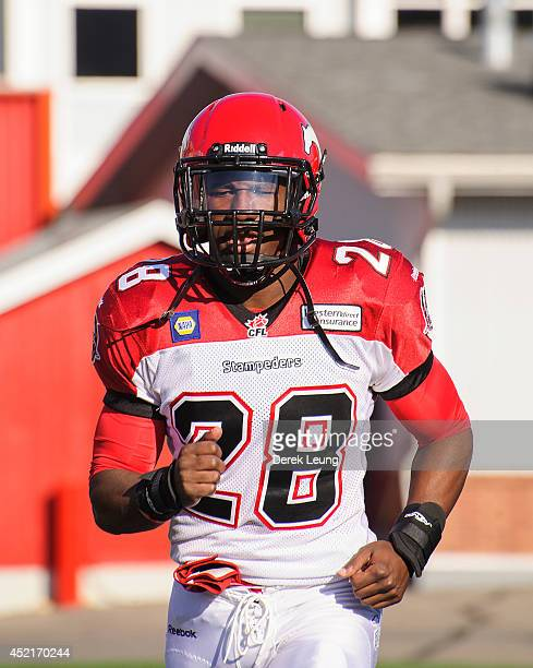 Brandon Smith of the Calgary Stampeders in action against the Winnipeg Blue Bombers during a CFL game at McMahon Stadium on June 14 2014 in Calgary...