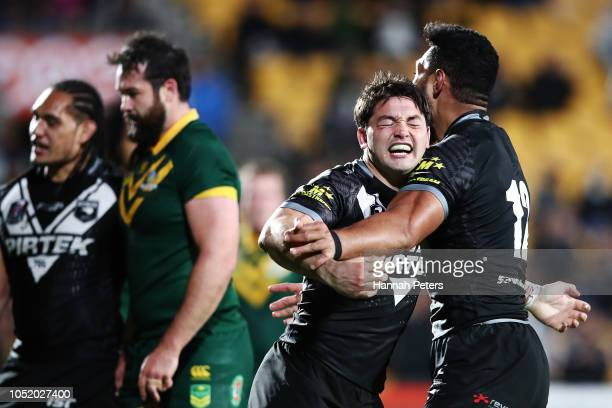 Brandon Smith of the Kiwis celebrates after scoring a try during the international Rugby League Test Match between the New Zealand Kiwis and the...