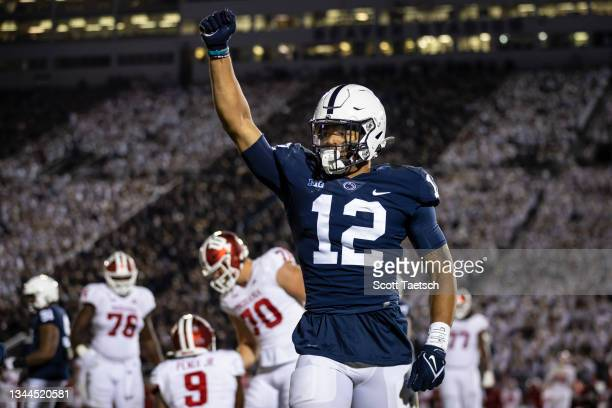 Brandon Smith of the Penn State Nittany Lions celebrates after tackling Michael Penix Jr. #9 of the Indiana Hoosiers during the second half at Beaver...