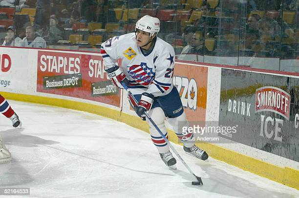 Brandon Smith of the Rochester Americans in action against the Hamilton Bulldogs during the game at Copps Coliseum on January 26 2005 in Hamilton...