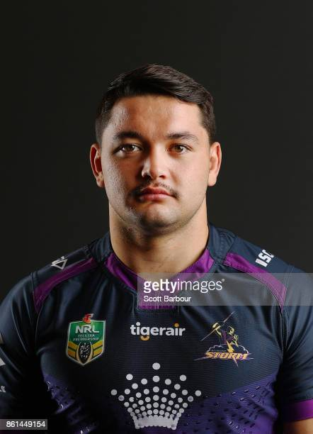 Brandon Smith of the Storm poses for a portrait during a Melbourne Storm NRL training session at Gosch's Paddock on September 25 2017 in Melbourne...
