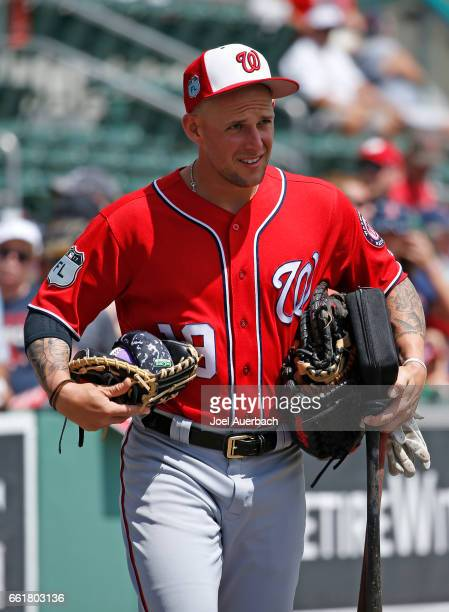 Brandon Snyder of the Washington Nationals walks to the dugout prior to the spring training game against the Boston Red Sox at JetBlue Park on March...