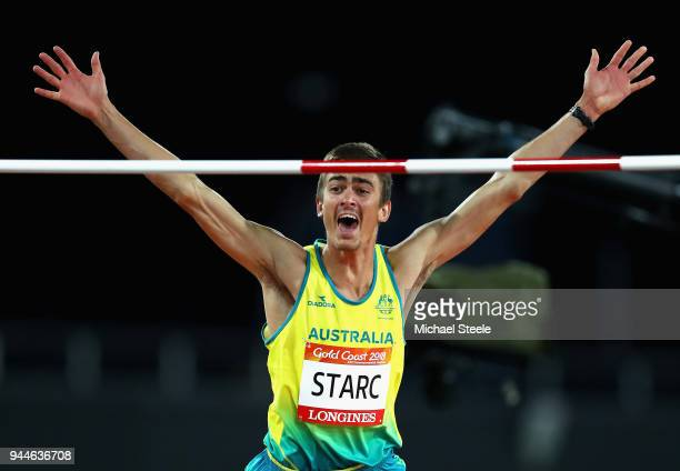 Brandon Starc of Australia celebrates as he competes in the Men's High Jump final during athletics on day seven of the Gold Coast 2018 Commonwealth...