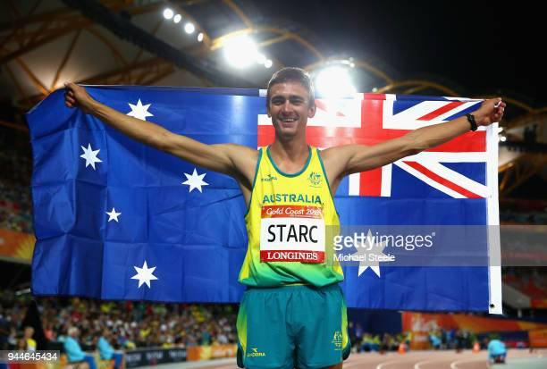 Brandon Starc of Australia celebrates winning gold in the Men's High Jump final during athletics on day seven of the Gold Coast 2018 Commonwealth...