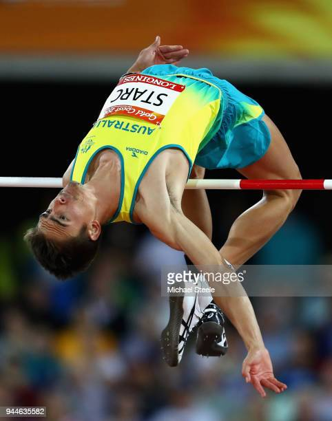 Brandon Starc of Australia competes in the Men's High Jump final during athletics on day seven of the Gold Coast 2018 Commonwealth Games at Carrara...