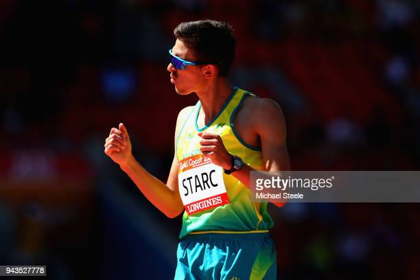 Brandon Starc of Australia reacts as he competes in the Men's High Jump qualification during the Athletics on day five of the Gold Coast 2018...